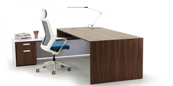 Aston Walnut Executive Desk with White Return