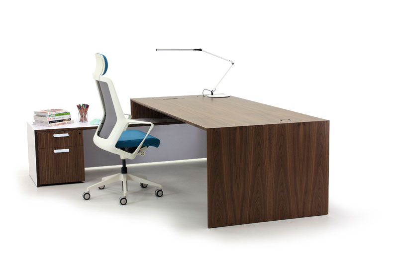 Aston Walnut Executive Desk with White Return