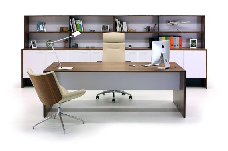 Aston Walnut & White Executive Furniture Suite