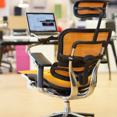 Ergohuman Orange mesh task chair with laptop holder and footrest back
